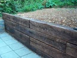 retaining wall with railway sleepers