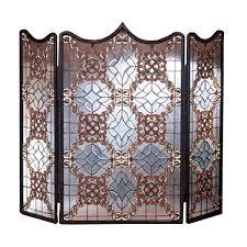 victorian beveled fireplace screen