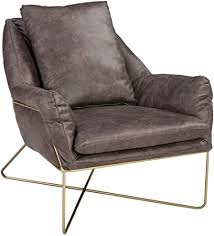 metal and faux leather accent chair