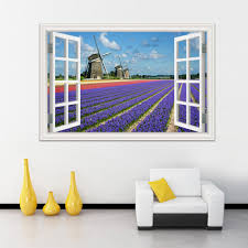 3d Wall Stickers Window View Windmill Beautiful Landscape Wallpapers Pvc Sticker Decal Vinyl Wall Art Mural Home Decor Bathroom Wall Decals Bathroom Wall Stickers From Asenart 10 26 Dhgate Com