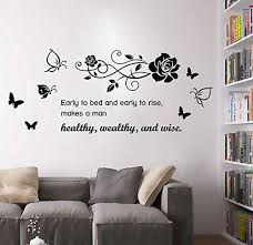 Bibitime Rose Butterflies Early To Bed And Early To Rise Makes A Man Healthy Wealthy And Wise Vinyl Wall Quotes St Kid Room Decor Vinyl Wall Quotes Wall Decals