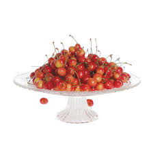 round glass fruit plate with stand