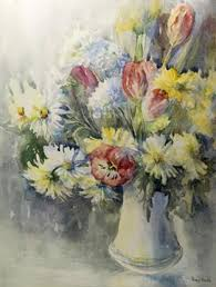 PENNY WARD (20th CENTURY), SPRING FLOWERS, watercolour, signed lower right,  framed. 46cm by 36cm