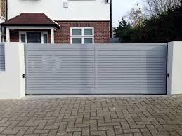 Front Boundary Wall Screen Automated Electronic Gate Installation Grey Wooden Fence Bike Store Modern Garden Design Balham Clapham London London Garden Blog