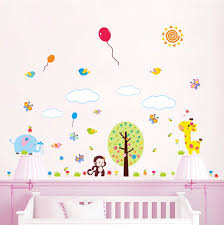 Cute Animals Zoo Monkey Butterfly Sun Home Decal Wall Sticker For Kids Room Diy Cartoon Nursery Baby Bedroom Decor Child Gifts Sticker For Kids Room Wall Stickers For Kidswall Sticker Aliexpress