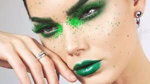 full face using only green makeup