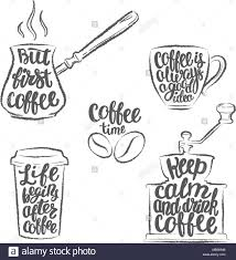 coffee lettering in cup grinder pot grunge contours modern