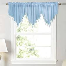Amazon Com Wubodti Blue Kids Room Sheer Beaded Valance Curtains 3 Pieces Kitchen Cafe Voile Tulle Rod Pocket Swag Window Curtain Valances With Beads For Bedroom Bathroom Nursery Living Room 51 X 24
