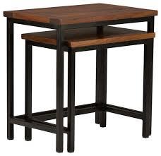nesting table set in dark cognac brown