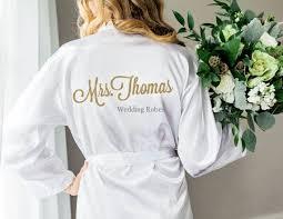 mrs white satin personalised robe