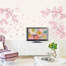 Diy Romantic Pink Plum Flower Tree Wall Sticker Living Room Bedroom Wall Decal Tv Sofa Background Home Decor Mural Wallpaper Tree Wall Sticker Wall Stickerdecoration Murale Aliexpress