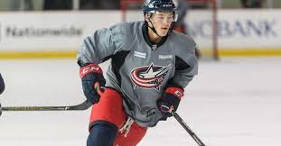 blue jackets prospect ting out