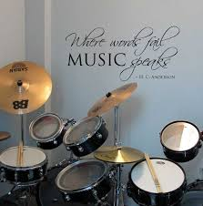 Where Words Fail Music Speaks Wall Decal Removable By Stixdesign Drum Room Drums Quotes Vinyl Lettering