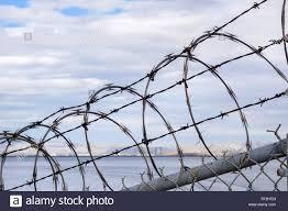 Razor Barbed Wire Security Fence California Stock Photo Alamy