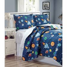 Outer Space Bedroom Solar System Planets Rocket Bedding Decor