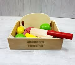 wooden fruit cutting toy set baby