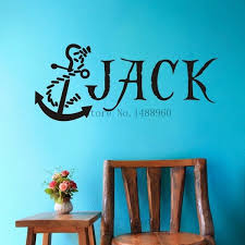New Brand E79 Anchor Nautical Pirate Custom Name Wall Decal Wall Stickers Boys Kids Room Wall Art Personalized Name Customer Decoration Wish