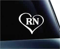 Amazon Com Expressdecor Heart With Rn Text Nurse Hospital Love Life Symbol Decal Family Love Car Truck Sticker Window White Automotive