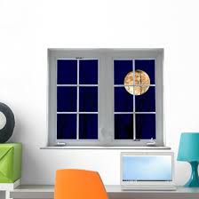 Yellow Moon Window Mural Wall Decal Wallmonkeys Com
