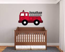 Amazon Com Custom Name Fire Truck Prime Series Baby Boy Nursery Wall Decal For Baby Room Decorations Mural Wall Decal Sticker For Home Children S Bedroom J191 Wide 40 X26 Height Baby