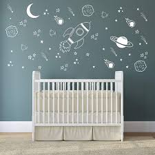 Amazon Com Space Wall Decal Nursery Outer Space Decor Rocket Decal Boy Room Decor Space Ship Decal Space Themed Room Planets Wall Decal For Baby Boys Nursery A37 White Home Kitchen