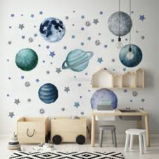 Watercolor Planets And Stars Wall Decal Sticker Wall Decals Wallmur