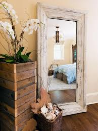 mirror and reclaimed wood planter stand