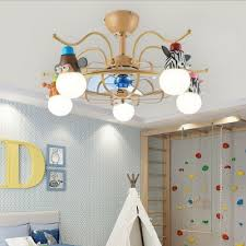 Cartoon Little Animals Ceiling Chandelier Iron And Acrylic 5 Light Ceiling Fan For Baby Kids Bedroom Beautifulhalo Com