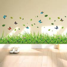 Amazon Com Ufengke Green Grass Flowers Butterflies Wall Decals Living Room Bedroom Baseboard Removable Wall Stickers Murals Home Kitchen