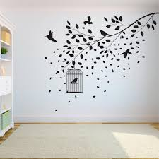 Tree Wall Decal Sticker Bedroom Tree Of Life Roots Birds Flying Away Home Decor Leaves Falling A7 004 Wall Stickers Aliexpress