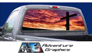 Vehicle Graphics Rear Window Graphics Religious Cross Christian Rear Window Graphic