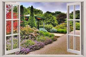 Beautiful Garden 3d Window View Decal Wall Sticker Home Decor Art Mural Ebay