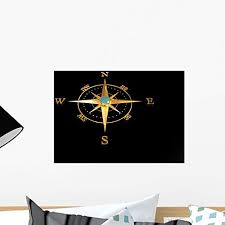 Amazon Com Wallmonkeys Wm268838 Compass Rose Gold Peel And Stick Wall Decals 18 In W X 14 In H Small Home Kitchen