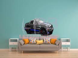 Car Art Thin Blue Line Police Car Cartoon Wall Decal Let S Print Big