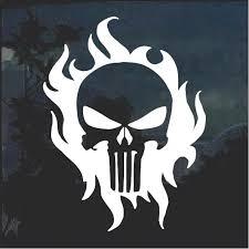 Punisher Skull Flame Window Decal Sticker Custom Sticker Shop