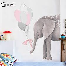 Waliicorners Large Elephants With 6pcs Pink Gray Balloons Art Wall Decals Baby Nursery Decoration Cartoon Wall Stickers For Kids Room Decor Waliicorner S Store
