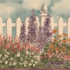 August Grove Boughton Wide Violet Flowers By Fence Retro Design Floral And Botanical Wallpaper Border Wayfair