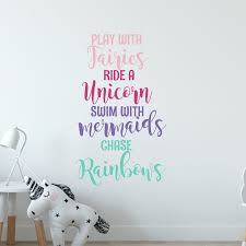 Unicorn Wall Decal Sticker Mermaid Wall Decal Sticker Etsy In 2020 Unicorn Wall Decal Mermaid Wall Decals Rainbow Wall Decal