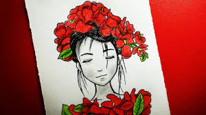 How To Draw A Girl With Roses Drawing Tutorial رسم بنت ترتدي طوق