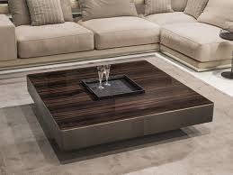 square wooden coffee table with tray