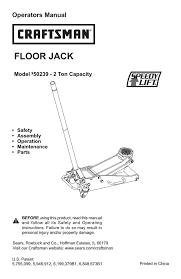 ton capacity automobile parts user manual