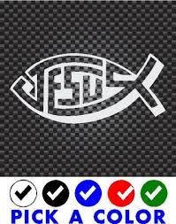 Purchase 2x Jesus Fish Car Decal Window Sticker Christian Love Vinly Motorcycle In Florida Pr Puerto Rico For Us 3 80