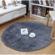 Amazon Com Yj Gwl Ultra Soft Round Fluffy Area Rugs For Girls Bedroom Anti Slip Shaggy Nursery Rug Kids Room Carpets Cute Children Play Mat 4 Feet Grey Home Kitchen
