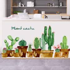 Amazon Com Mendom Cactus Wall Decal Green Plants Wall Sticker Peel And Stick Removable Diy Giant Plants Wall Decals For Kids Bedroom Nursery Room Sofa Background Wall Decoration Kitchen Dining