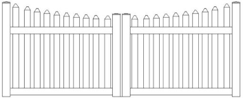 Vinyl Scalloped Cape Cod Spaced Picket Double Gate Atlas Outdoor