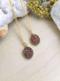 oval druzy necklace dusty rose bronze