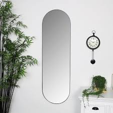 tall oval wall mirror black metal frame