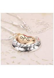 rose gold heart moon silver for her