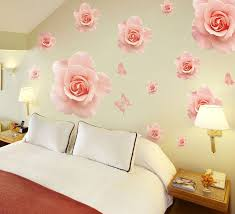 Romantic Large Pink Rose Wall Stickers Decals Flower Pattern Pvc Wallpaper Mural Girls Women Home Bedroom Wedding Room Decor Room Decoration Decoration Patternroses Wall Aliexpress