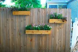 Fence Planters Garden Planter Boxes Hanging Plants On Fence Backyard Planters
